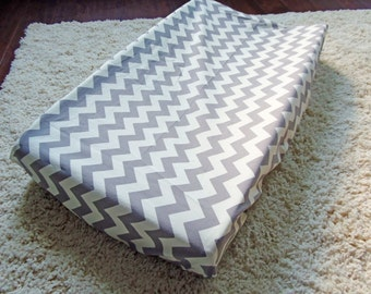 SALE Gray and Cream Chevron Changing Pad Cover