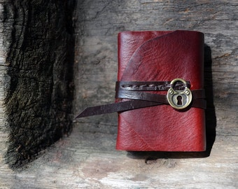 MiniBook A8 Heart lock & Red Burgundy Color leather