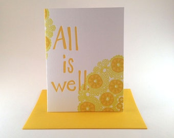 "Mandala ""All is well"" Greeting Card - Sunny Yellows"