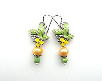 TIFFANY  Green&Yellow Drops with Enamel and Freshwater Pearl, Art Nouveau Earrings, Wedding Jewelry, Bridesmaid Earrings, Cottage Chic drops
