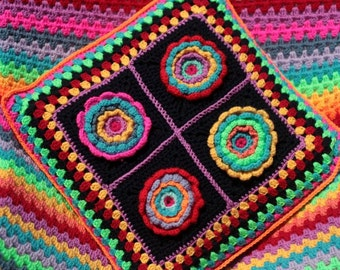 Crochet pillow cover, Granny square flower pillow,