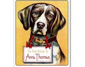 American Foxhound Personalized Bookplates - DOG LOVER GIFT