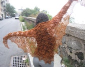 caramel leaves shawl in merino lace