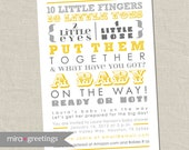 Gray and Yellow Baby Shower Invitation - 10 little fingers, gender reveal - neutral grey invite - subway art invite (Printable Digital File)