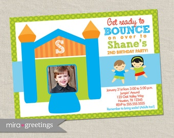 Bounce House Birthday Party Invitation - Bounce House Party - Jumping Party Invite - Photo card (Printable Digital File)