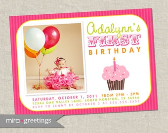 Cupcake Birthday Party Invitations - Cupcake Invitation Invite - first birthday invitation (Printable Digital File)
