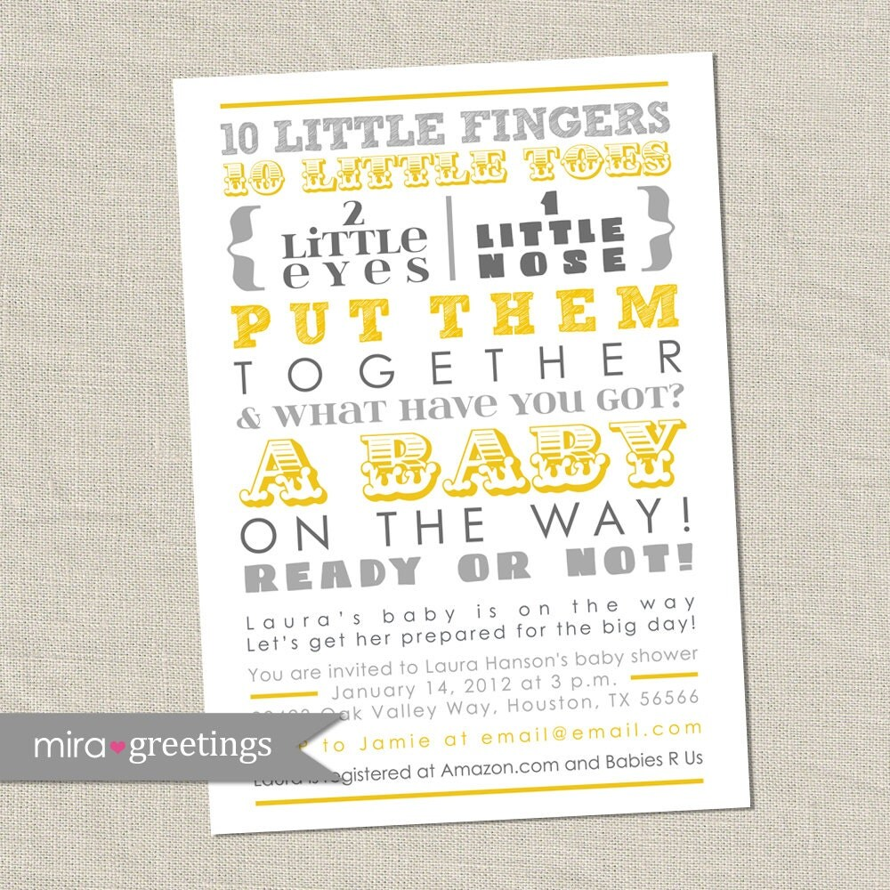 gray and yellow baby shower invitation 10 little fingers