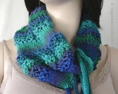 On Sale, Lace Cowl, Knitted Lace Cowl with Ties, Soft Lace Cowl, Peacock Knit Lace Cowl
