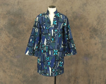 Clearance Sale vintage 60s Dress - Psychedelic Hawaiian Dress - 1960s Mod Blue Ethnic Mini Dress Sz M