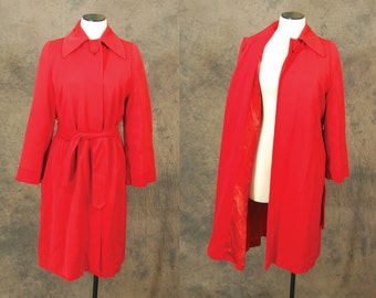 vintage 40s Coat - 1940s Red Belted Swing Coat Sz S M L
