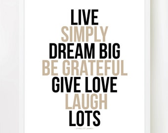 LIVE SIMPLY - inspiring print in 8x10 inches on A4 in Natural Brown and Black