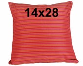 Long Pink Red Pillows, Pink Red Orange Lumbar Cushion Cover, Iridescent, Eclectic, Boho Chic Decor, 14x28 inch, 35x70 cm, Oblong, Rectangle