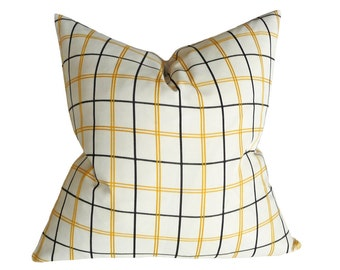 White Window Pane Plaid Pillow Cover, White Black Plaid Cushion Covers, Winter White Pillows, White Black Pillows, Neutral Home Decor, 20x20