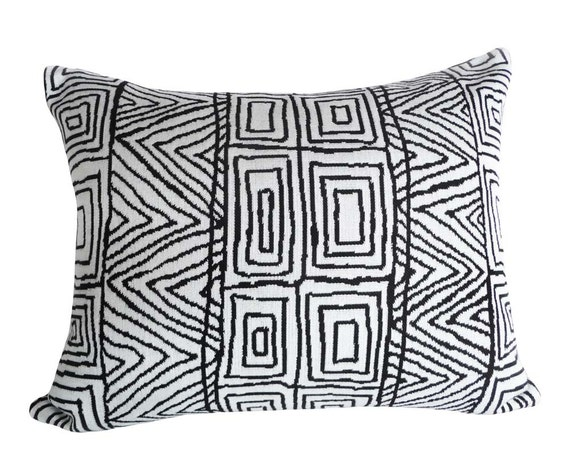 Black White Tribal Pillow, Contemporary Pillow,  Black and Bone White, Oblong Accent Cushion 14x18