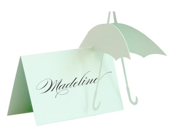 Umbrella Escort Cards - wedding place card, baby shower, rain, gender neutral, cute, sweet, adorable, mint green, aquamarine, mint wedding