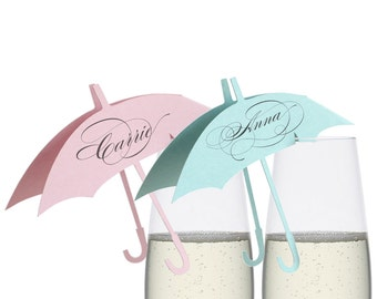 Umbrella Place Cards - wine glass, escort card, pink blue, table number, laser cut, baby shower, it's a girl, baby boy, pastel, sweet, mod