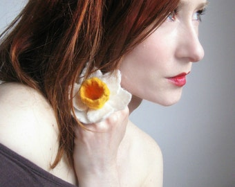 Daffodil Ring Hand Felted From Wool