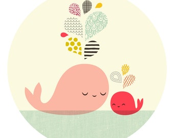 """12X12"""" Mother & Baby Whale giclee print on fine art paper. coral pink."""