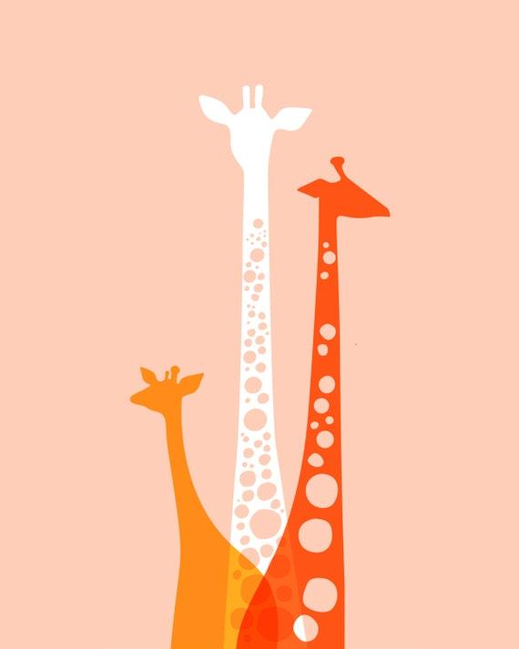 "16X20"" giraffe silhouette trio giclee print. pink, orange, poppy."