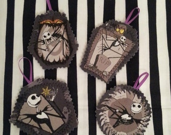 Nightmare Before Christmas fabric & felt ornaments magets - set of 4