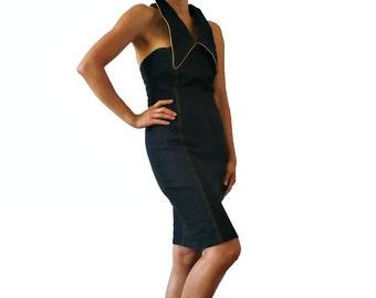 French Vintage Black DEnim Halter / Backless Dress