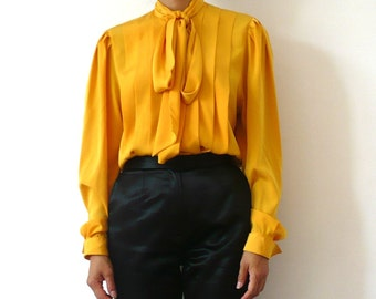 French Vintage 80s Deep Glamour Yellow Silky Blouse