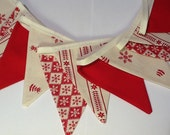 Christmas Bunting -  Scandinavian Style - 12 small flags 5.5ft