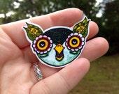 Teal Leafy Owl Pinback Button Brooch