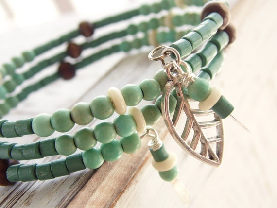 Items Similar To Beaded Memory Wire Bracelet Featuring