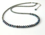 Dark Peacock Pearl Choker, Freshwater Pearls on Sterling Beaded Chain, June Birthstone Necklace, Her Special Gift, WillOaks Signature Design
