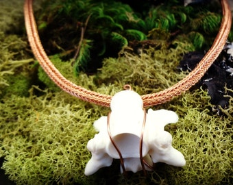 CLEARANCE Viking Knit Necklace with RATTLESNAKE Vertebrae - 20 Inch Double Weave in Natural Copper  Wire - Totem Animal - Sacred - Magick