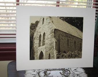 Matted, Abandoned, Church, Fonda, New York, Fine Art, Photography, Print, Sepia Tone, 8 x 10