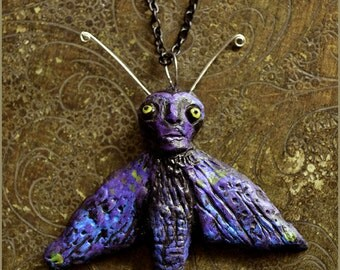 Purple Moth amulet handscukpted pendant with chain  - Handmade jewelry sculpt
