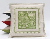 Green Hand Printed Oxford Style Cushion Cover