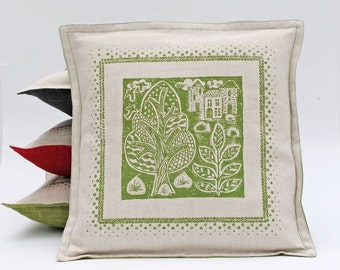 Green Hand Printed Oxford Style Linen Cushion Cover