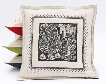 Woodland Print linen pillow / cushion cover