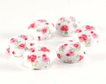 Fabric Buttons - Shabby Cottage Chic Flowers - 6 Small or 6 Medium Sized, Pink Floral, Green Leaves on White - Fabric Covered Button, Sewing