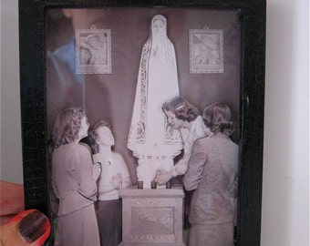 Vintage MADONNA VIRGIN Mary 3-D Antiqued Photograph and Shadowbox