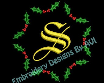 Christmas Holly Embroidery Monogram Fonts Designs Instant Download Sale 4x4 hoop