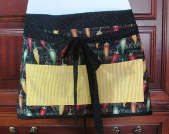 SALE - Vendor Market Apron / Half apron / Chili pepper print / Yellow Black / waitress, teacher, utility / pocket apron