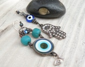 Evil Eye Earrings - Asymmetrical, Blue and Turquoise, Hand of Fatima, Earrings, Sterling Silver Ear Wires