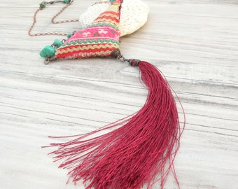 Eclectic Bohemian Tassel Necklace - Large Pendant, Silk Tassel and Vintage Hill Tribe Embroidery