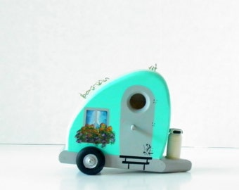 Decorative Aqua and Grey Tear Drop Trailer Birdhouse , Handcrafted and Hand Painted