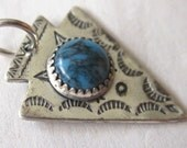 AZURE . Vintage Arrowhead Sterling Silver Pendant with Turquoise Cab