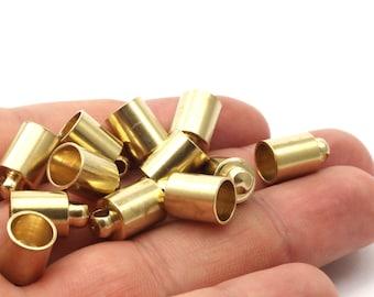 10 Raw Brass End Cap , Cord Tip -7 Mm Cord End - 8x12 Mm - Cap 3d (b0021)