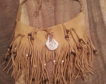 Native American leather fringed choker (SOLD) on reserve