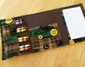 Coloring Wallet - Plaid John Deere Tractors, Crayons and Paper Included