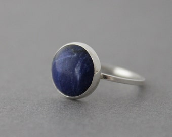 Statement Ring - Sterling Sodalite Ring - Size 8.25 US/CANADA