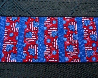 4th of July, Red, White Blue Table Runner Reverses to Small Floral Print
