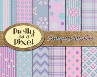 Printable Scrapbook Paper - January Sunrise - 12 x 12 - Set of 12 - INSTANT DOWNLOAD